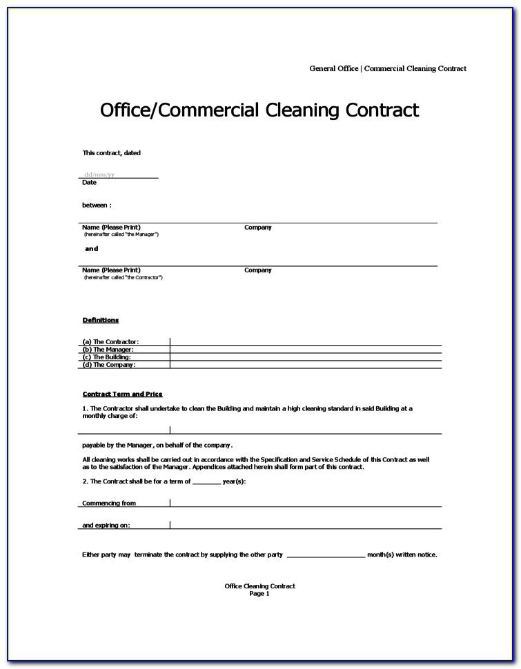 Office Cleaning Contract Template Free