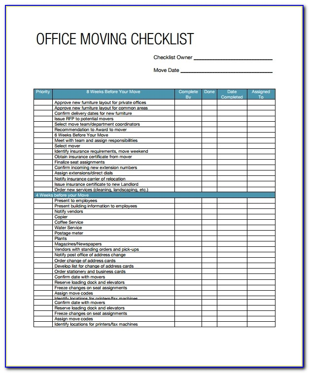 Office Moving Checklist Template Free