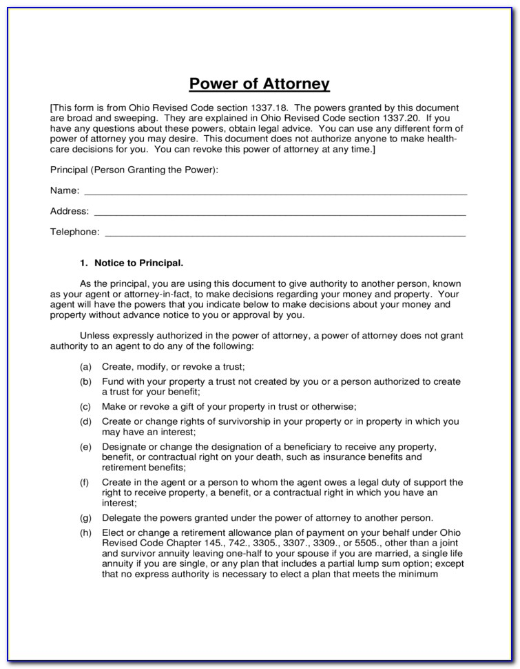 Ohio General Durable Power Of Attorney Free Form