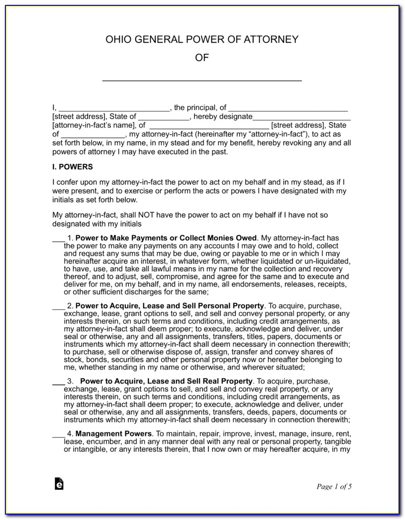 Ohio General Power Of Attorney Form Free