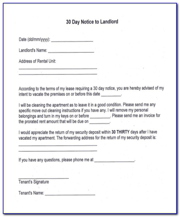 Ohio Landlord 30 Day Notice To Vacate Form
