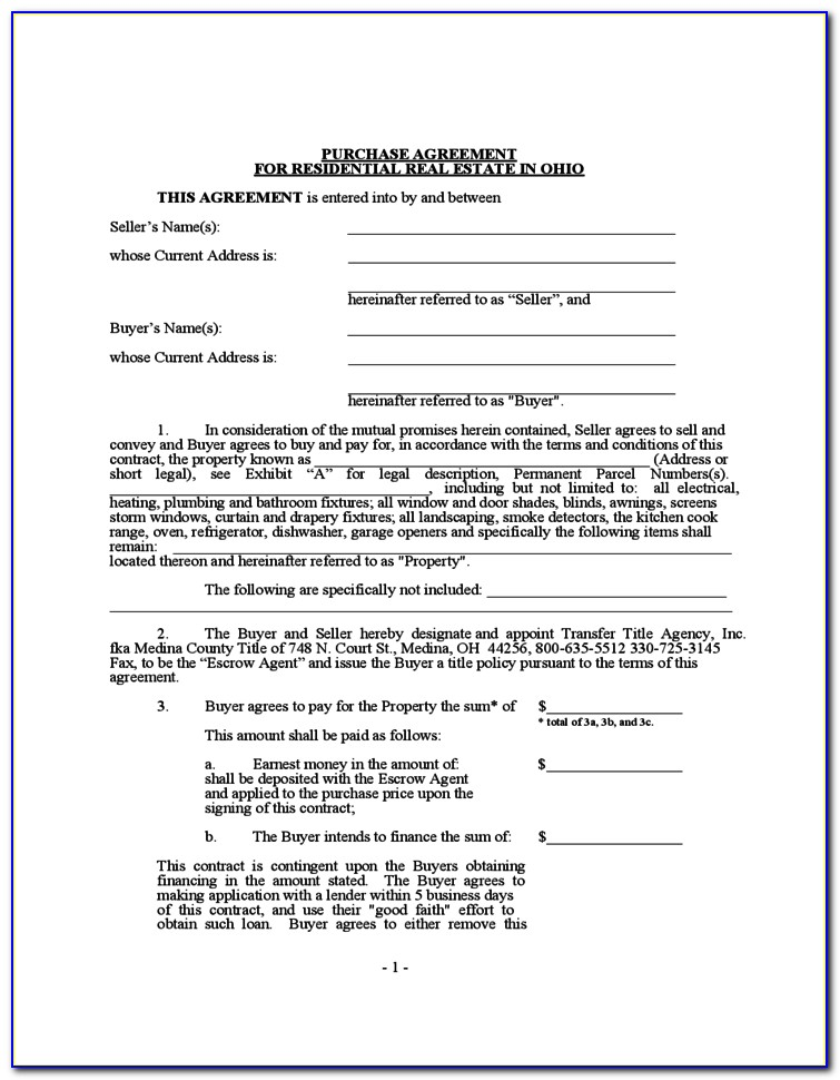 Ohio Offer To Purchase Real Estate Form