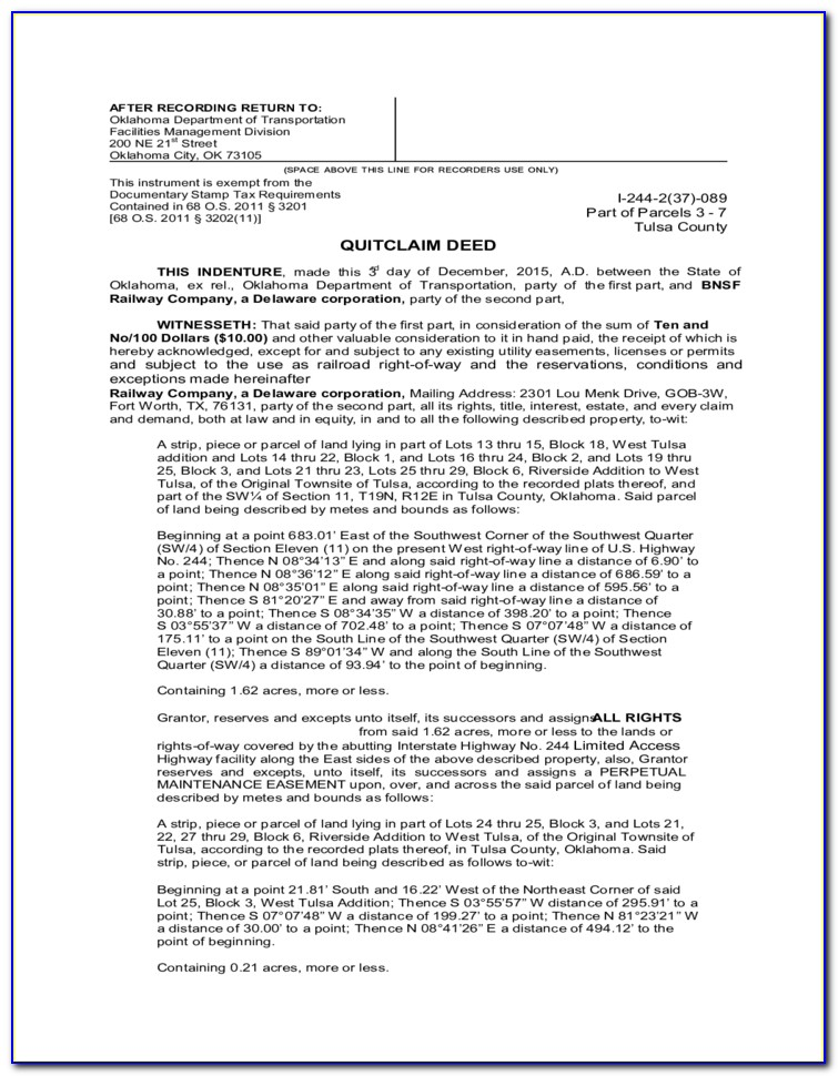 Oklahoma Quit Claim Mineral Deed Form