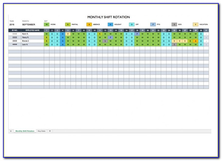 On Call Rotation Schedule Template Excel