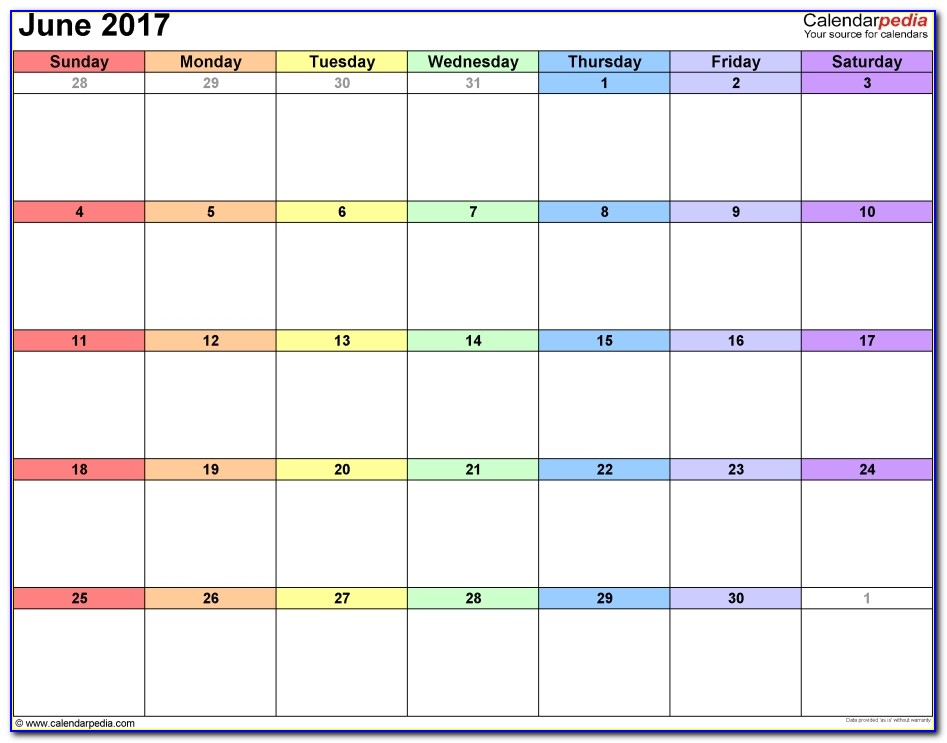 June 2017 Calendars For Word Excel Pdf On Call Calendar Template On Call Calendar Template