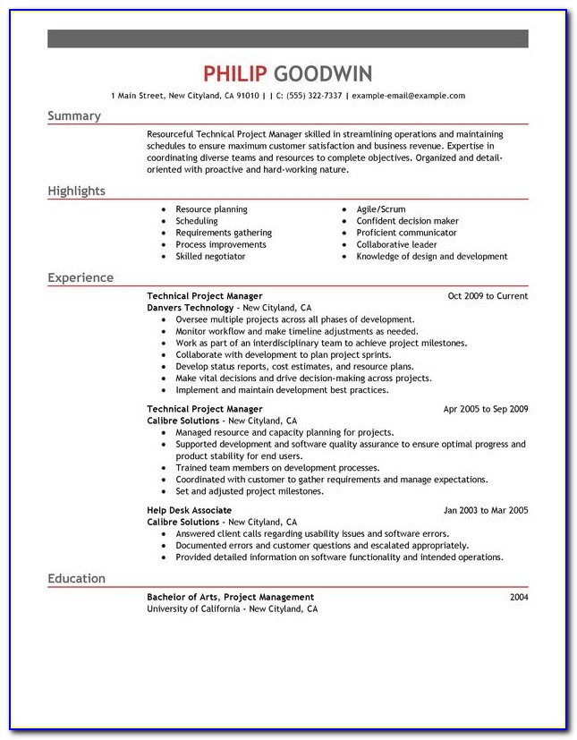 One Page Resume Template For Project Manager