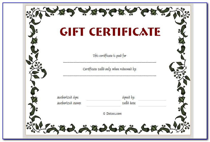 Online Gift Certificate Template Free