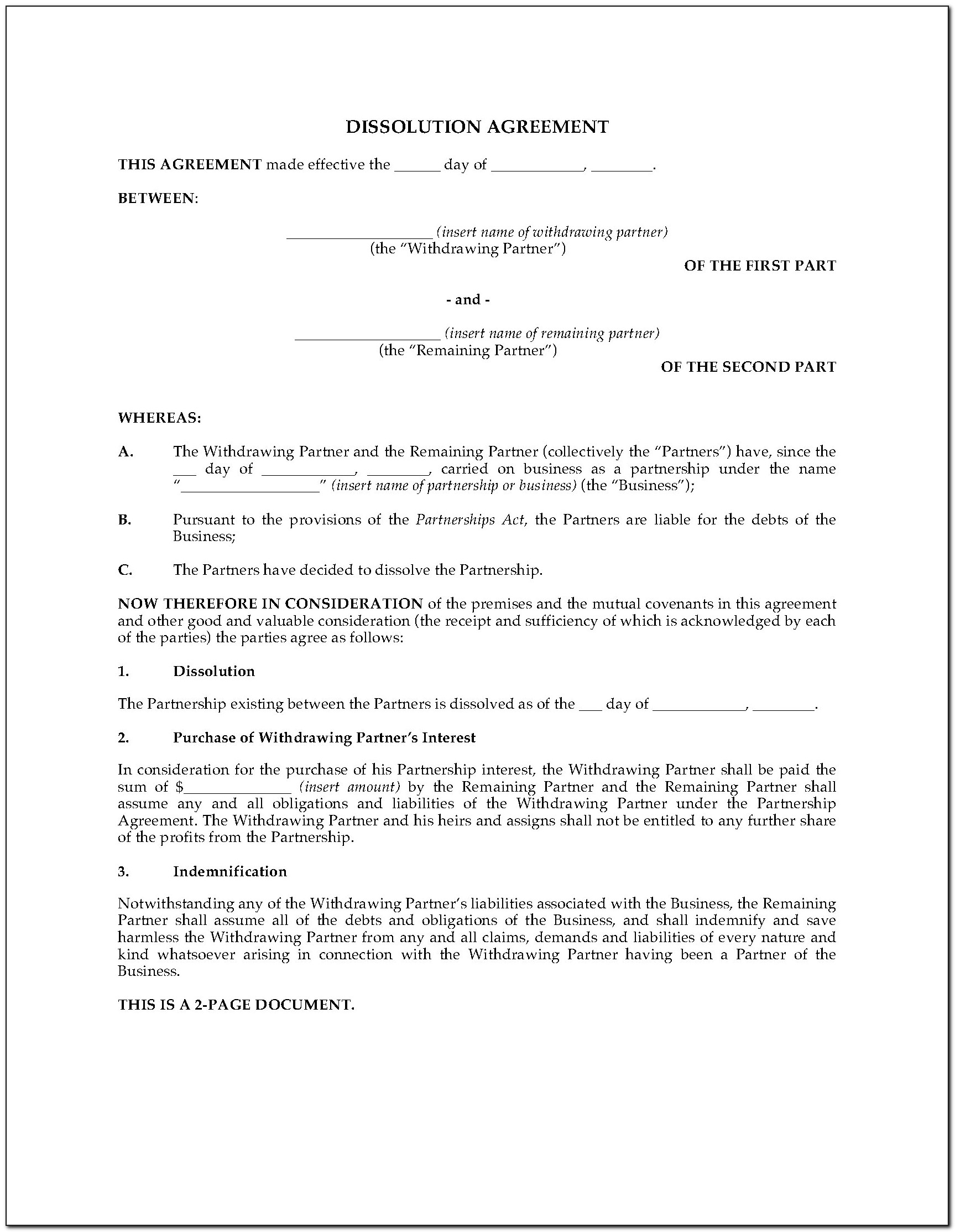 Ontario Legal Separation Agreement Form