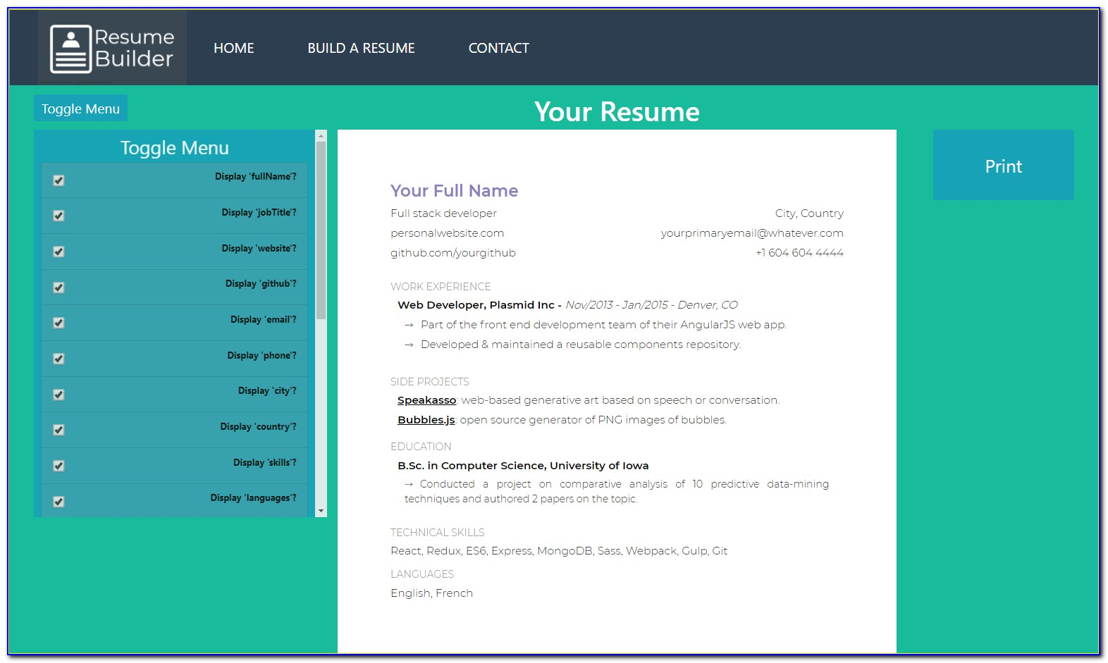 Open Source Resume Builder Php