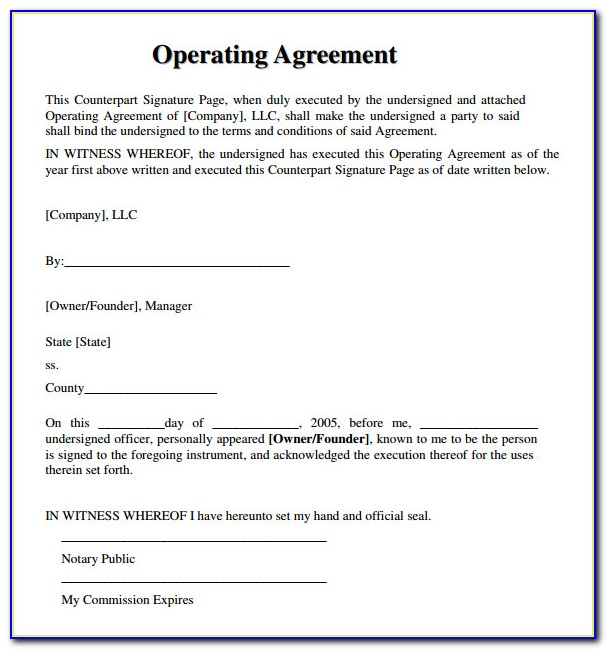 Operating Agreement For An Llc Template