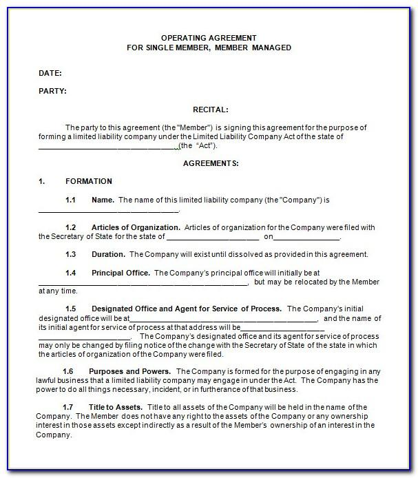 Operating Agreement For Llc Template Free