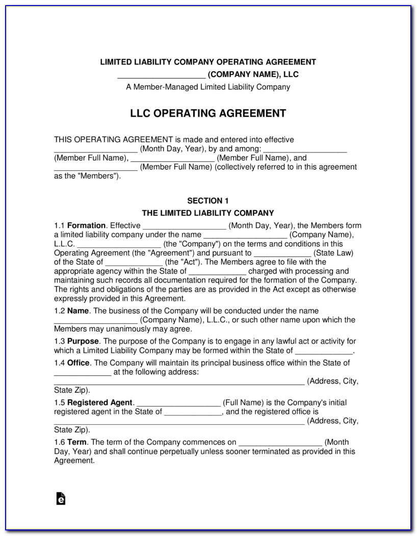 Operating Agreement Llc Ny Template