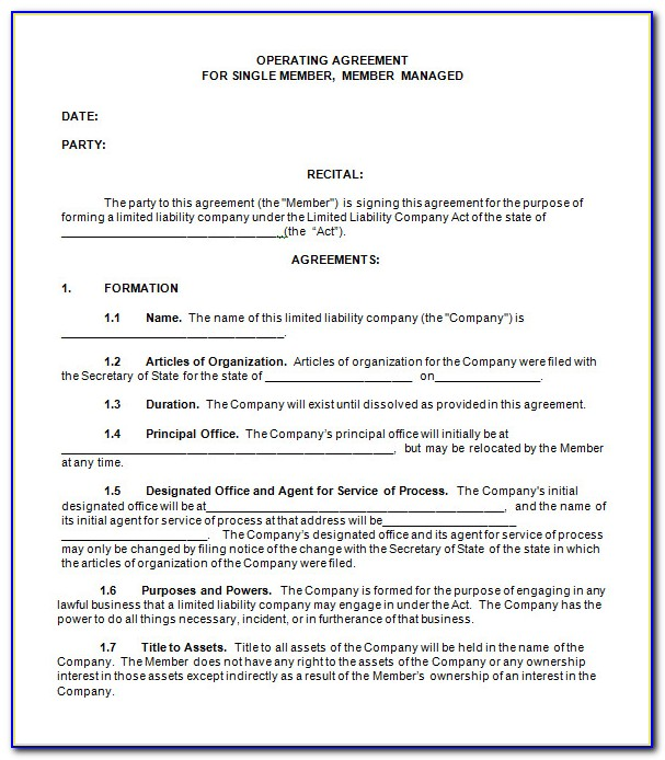 Operating Agreement Llc Template Free