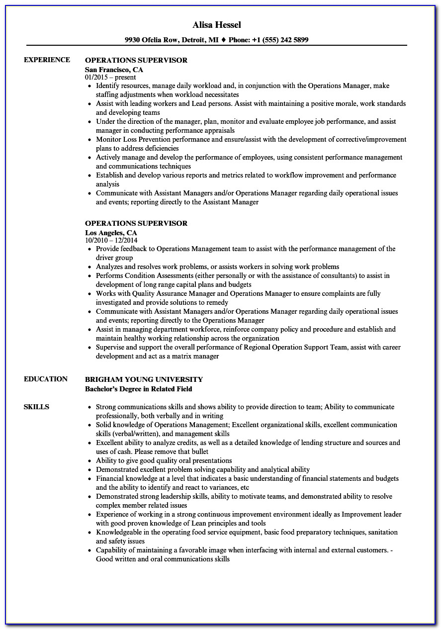 Operations Supervisor Resume Templates