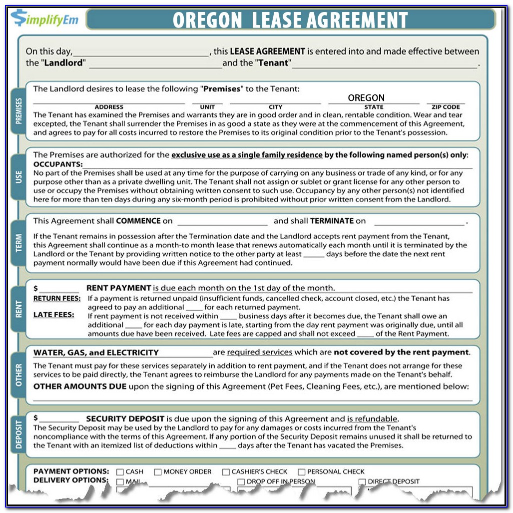Oregon Lease Agreement Forms