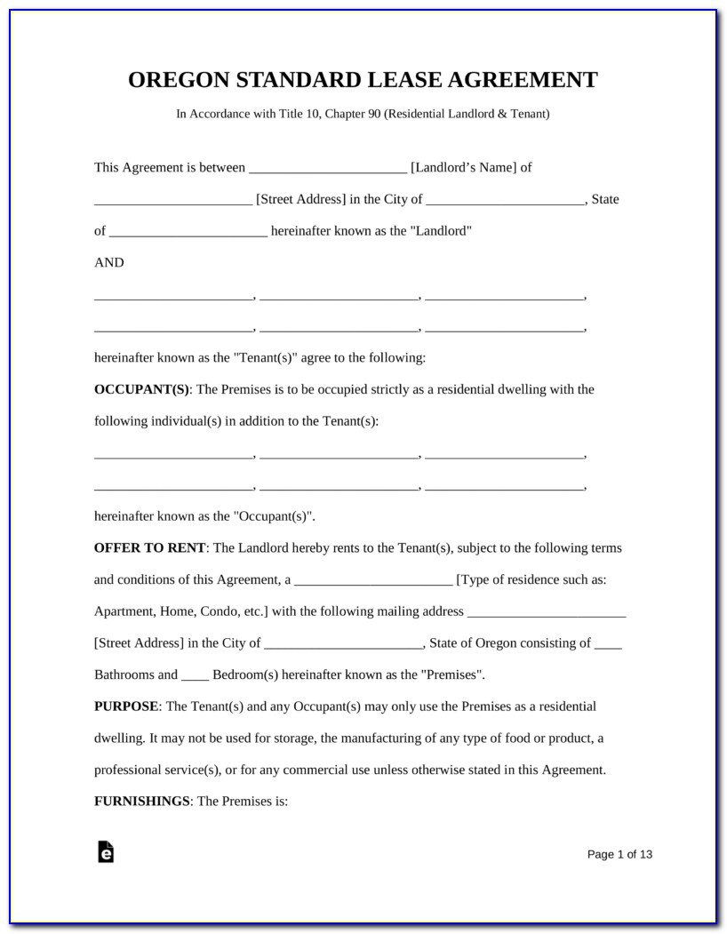 Oregon Monthly Rental Agreement Form Pdf