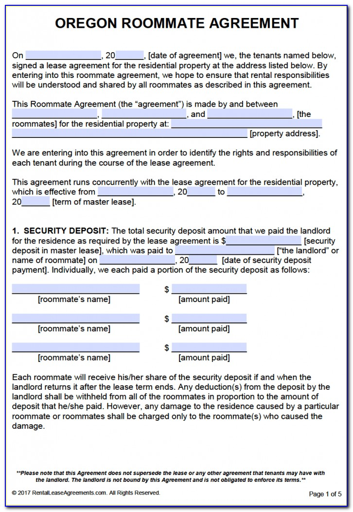 Oregon Rental Agreement Form 818a