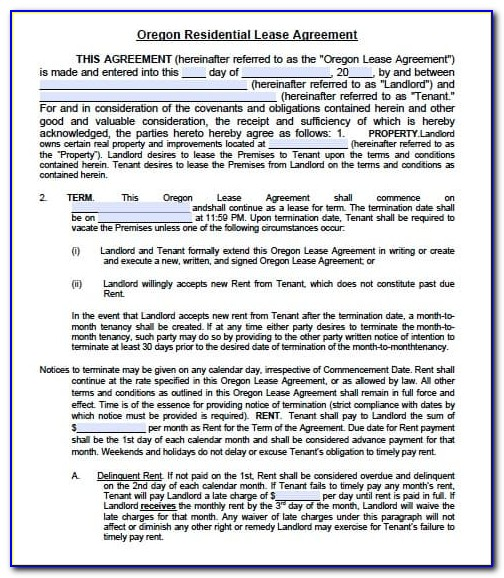 Oregon Rental Lease Agreement Form