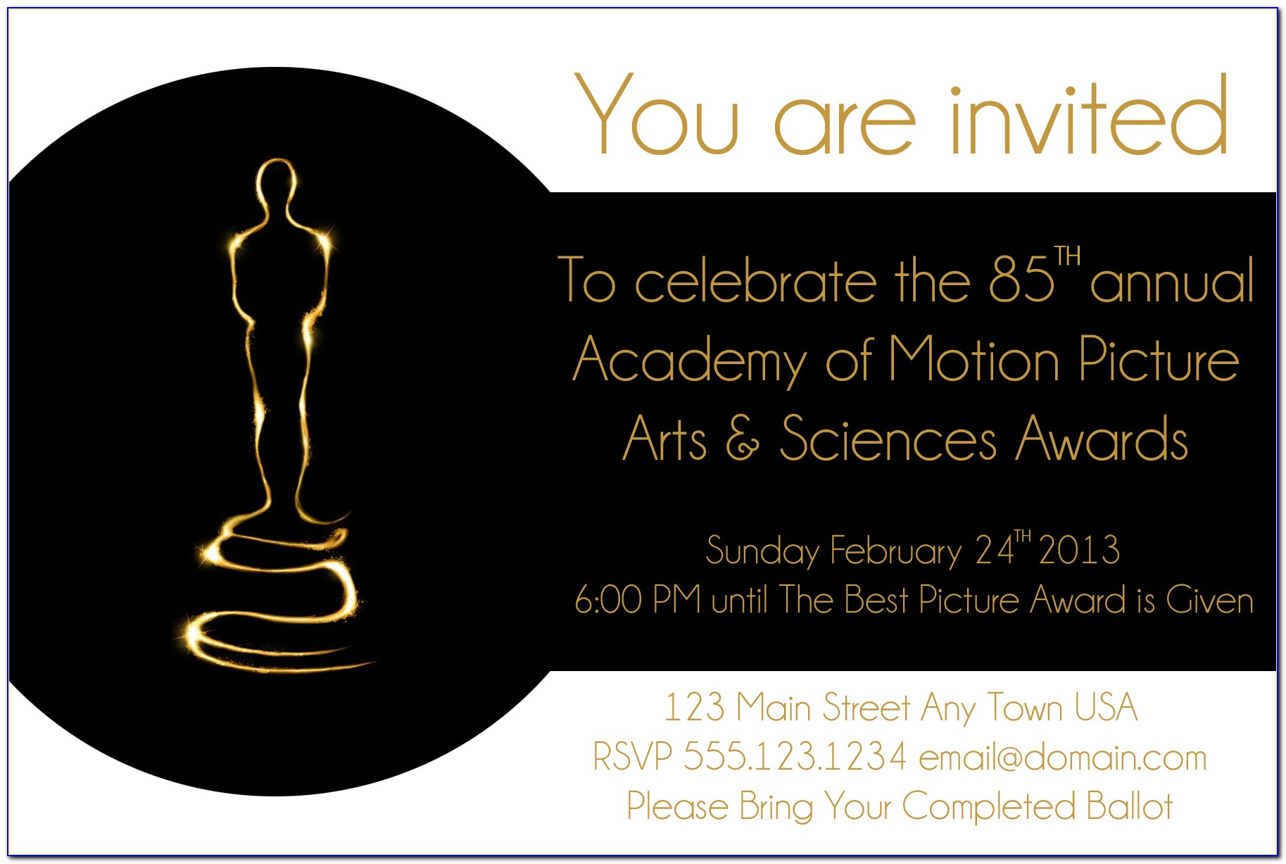 Free Oscar Party Invitation Template  vincegray5