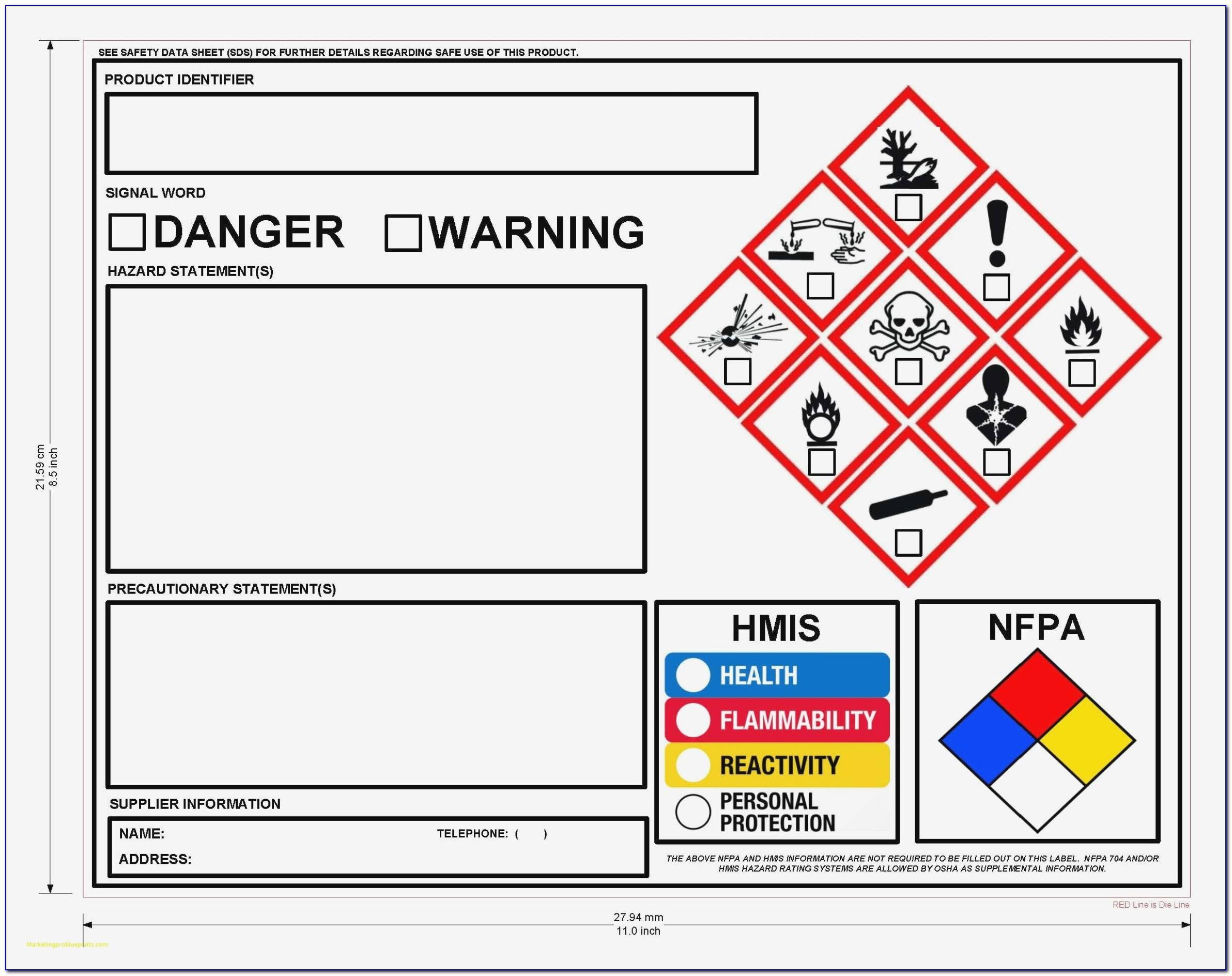 Osha Secondary Label Template