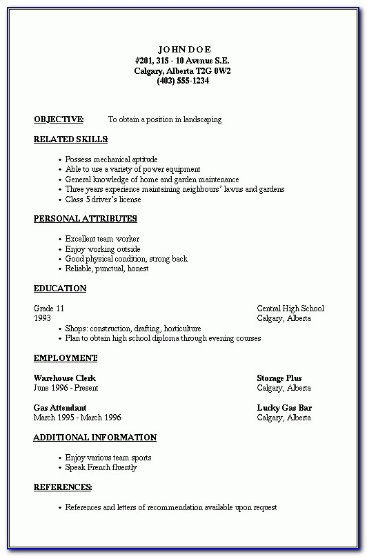 Resume Reference Section Examples Within Basic Resume Outline Template