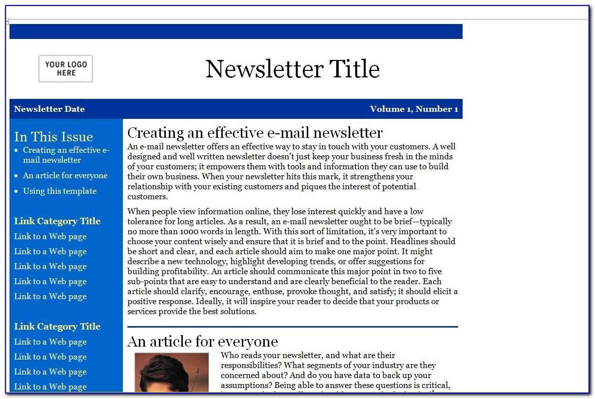 Outlook Newsletter Template Free Download