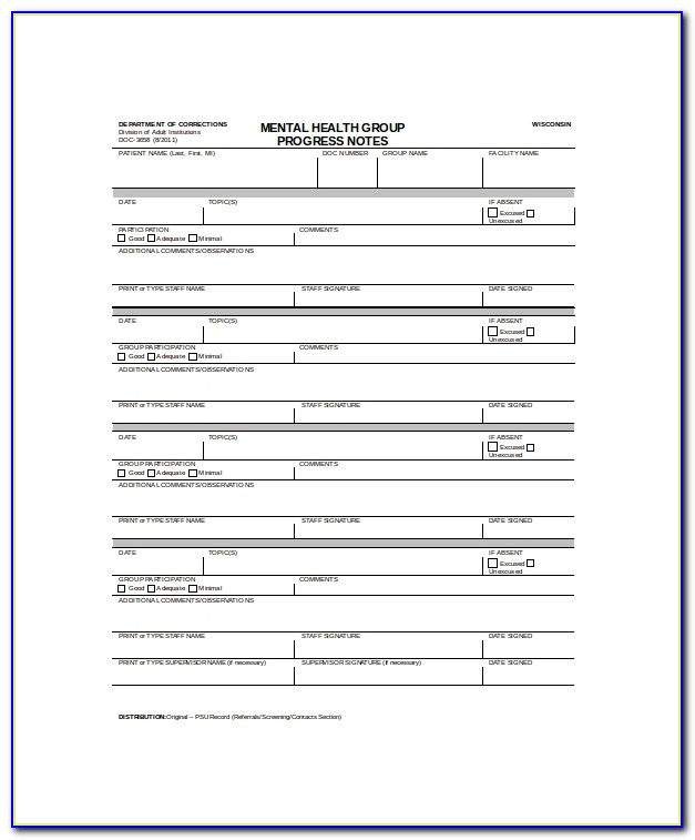Outpatient Psychiatric Progress Note Template