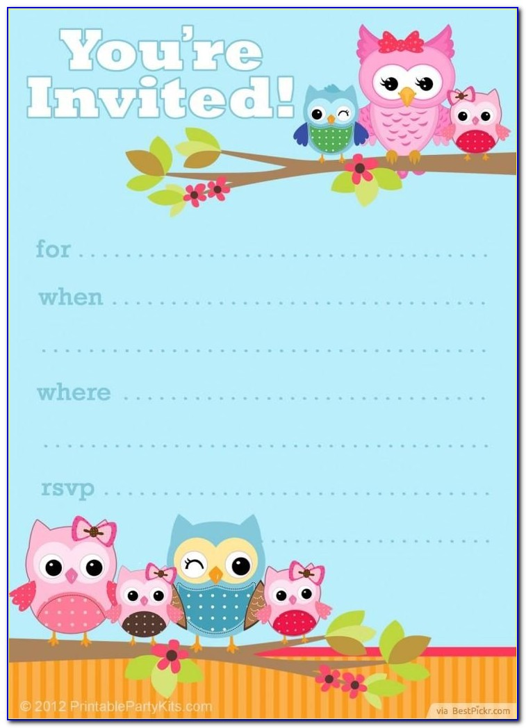 Owl Invitation Template Free