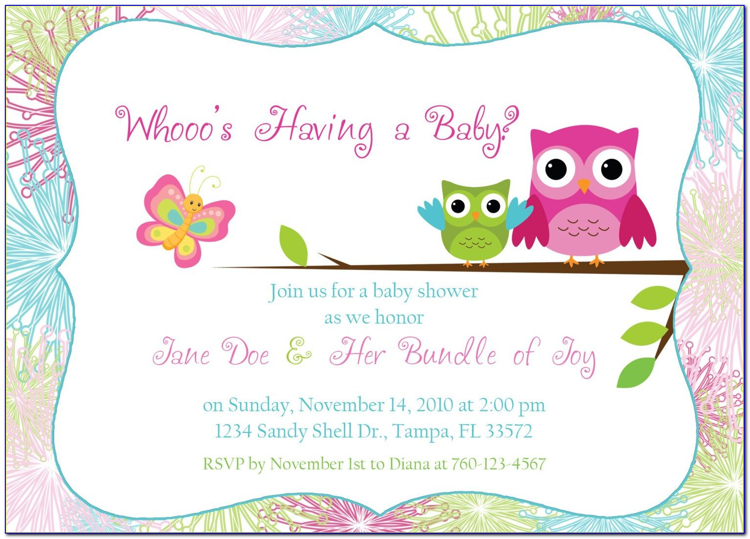 Owl Themed Baby Shower Invitation Template