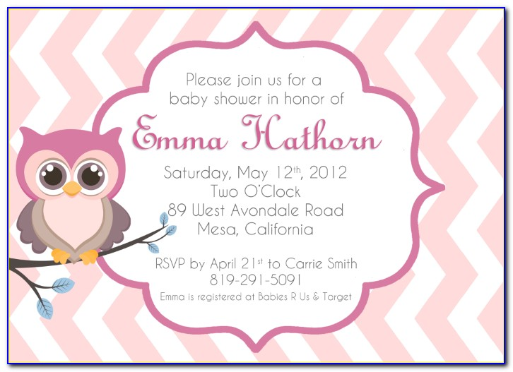 Owl Themed Baby Shower Invitation Templates
