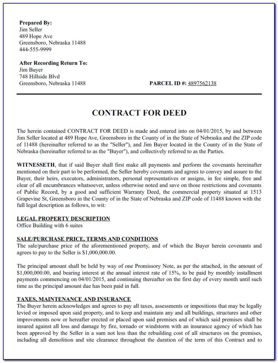 Owner Financing Contract Sample