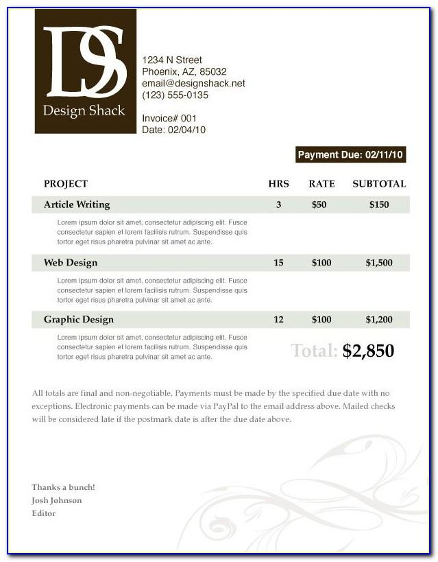 Painting And Decorating Invoice Template Uk