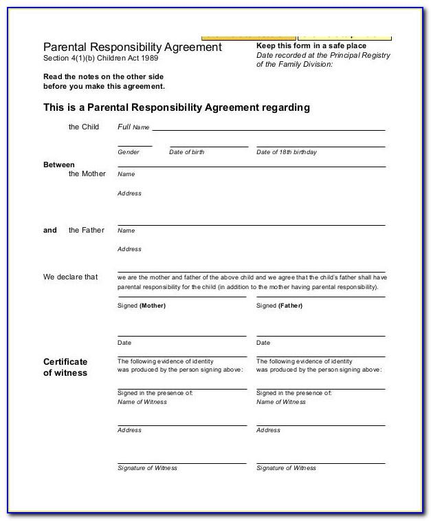 Parental Agreement Template South Africa