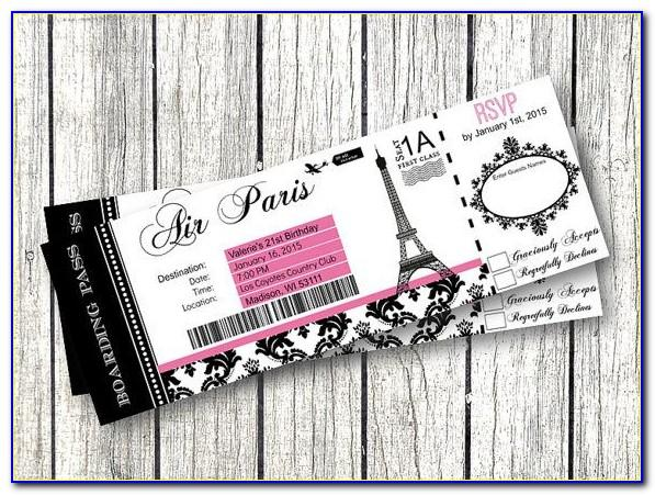 Paris Boarding Pass Invitation Template