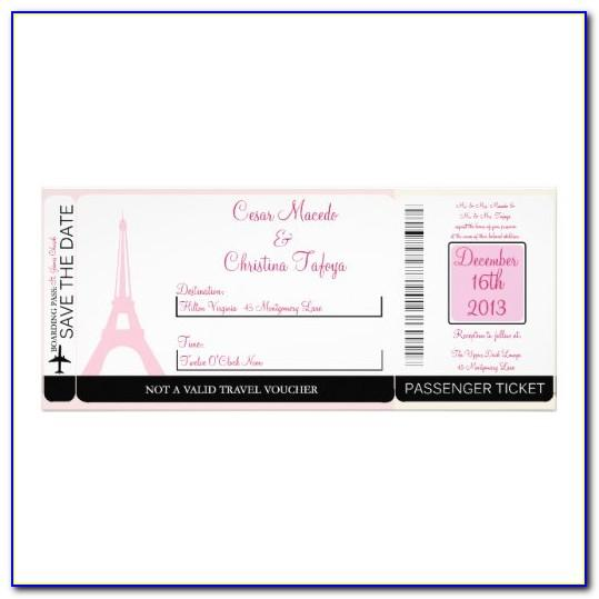 Paris Themed Boarding Pass Invitations Template