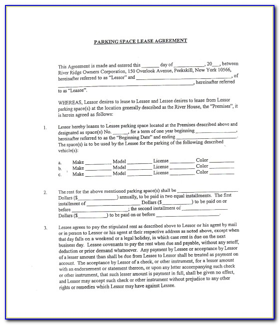 Parking Lease Agreement Template Ontario