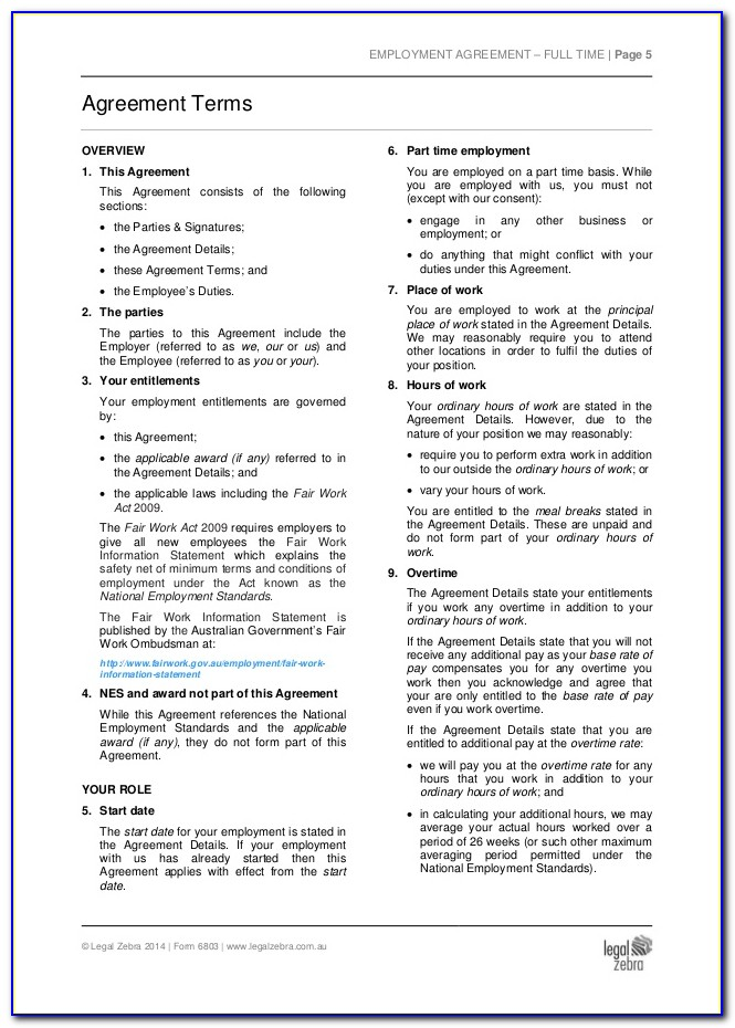 Part Time Employment Contract Template South Africa