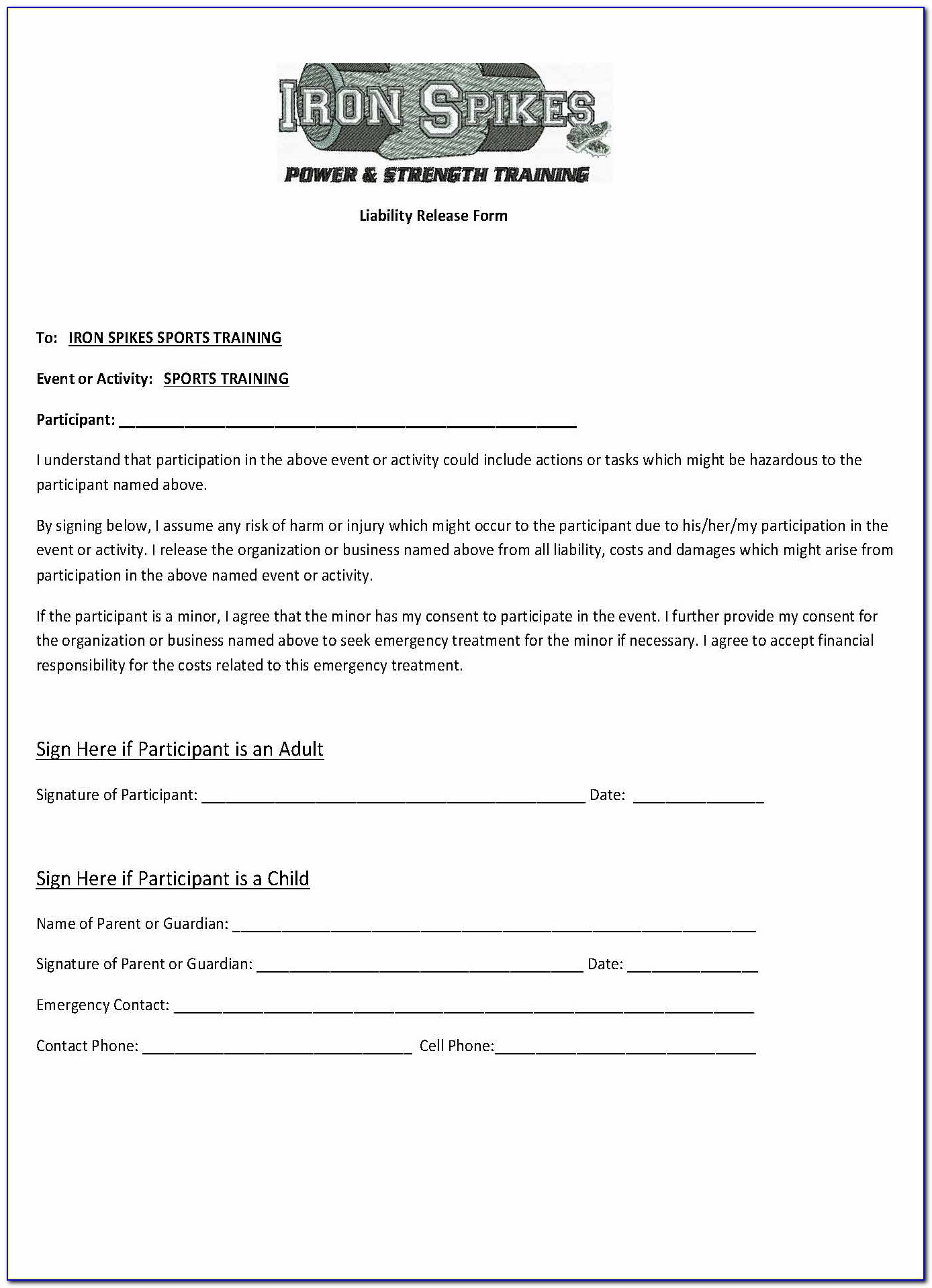 Participation Waiver Form Template Uk
