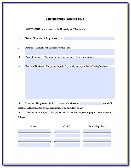 Partnership Agreement Contract Form