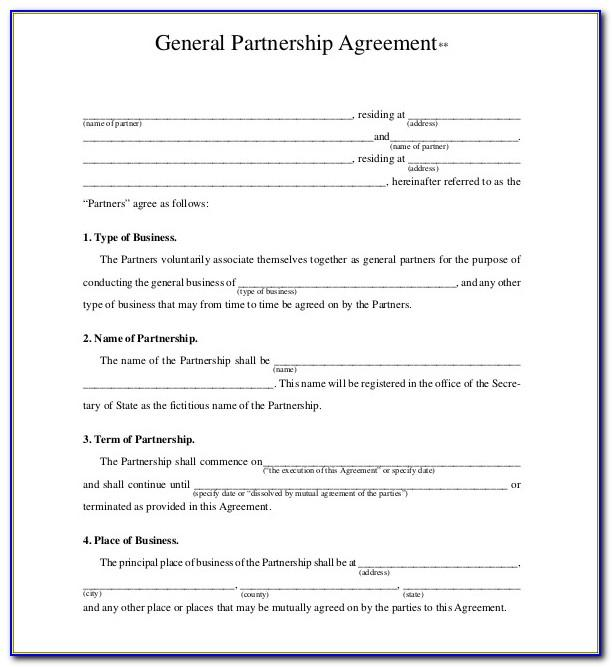 Partnership Agreement Document Template