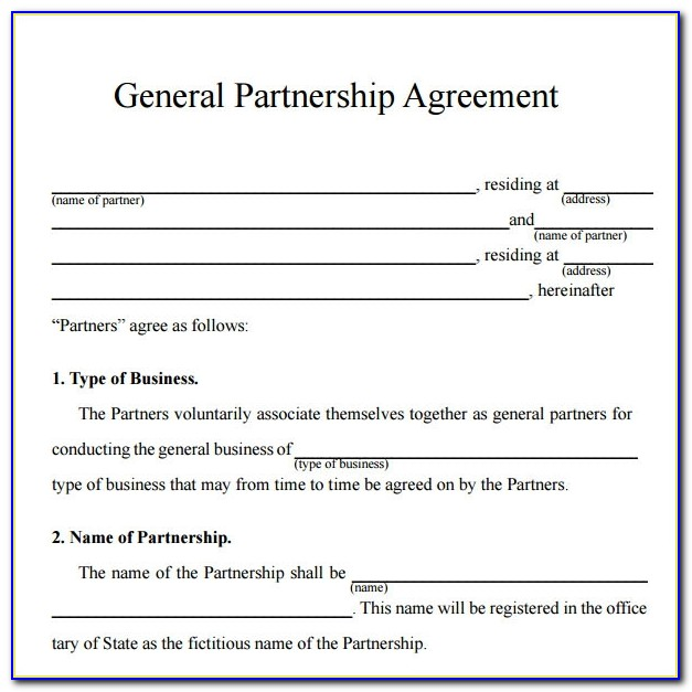 Partnership Agreement Sample Word