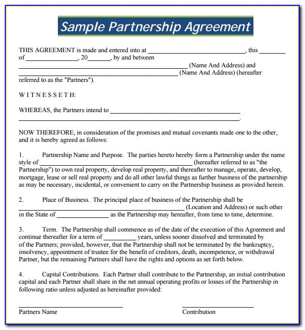 Partnership Agreement Template Word Doc