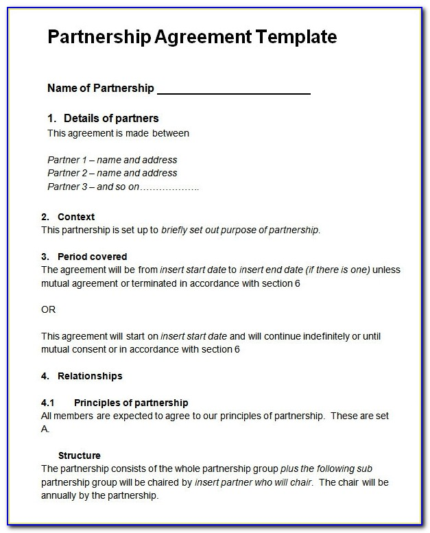 Partnership Agreement Template Word Free