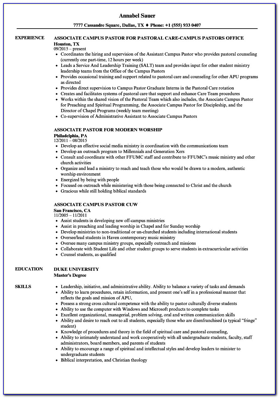 Pastoral Resume Template