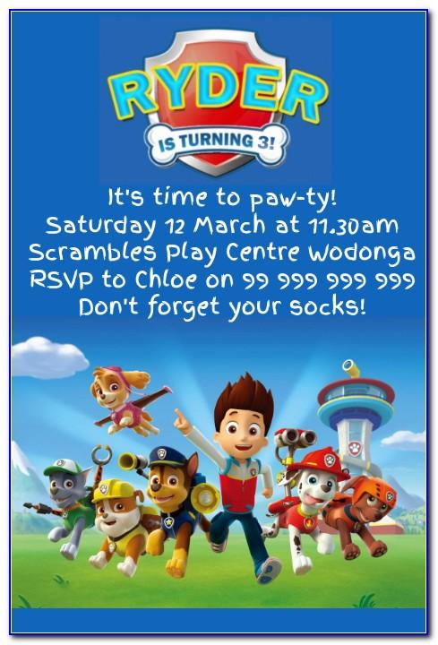 Paw Patrol Birthday Invitation Wording