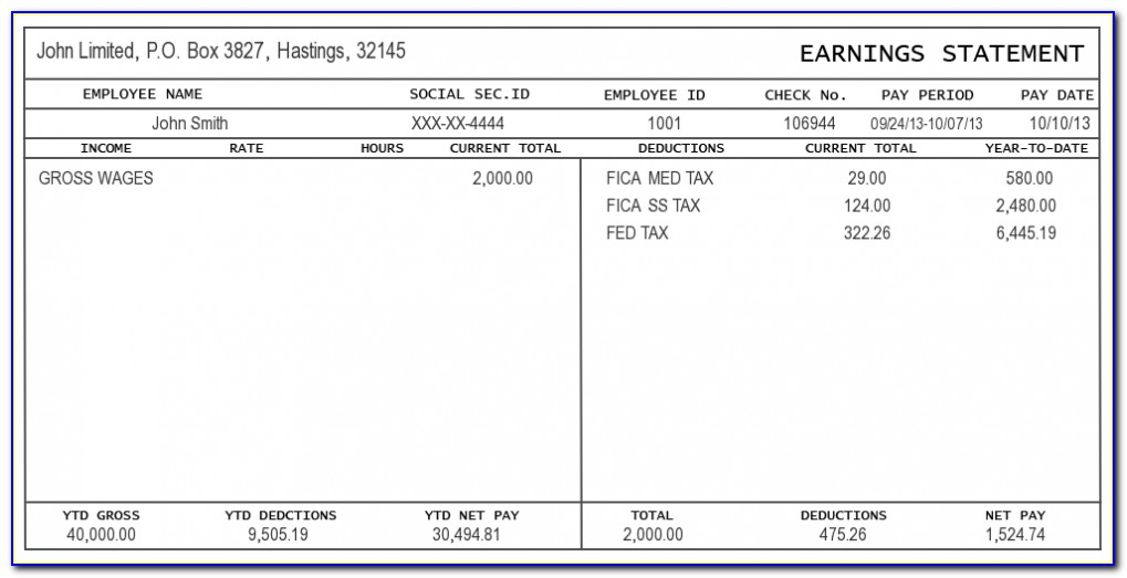 Pay Stub Template Microsoft Office