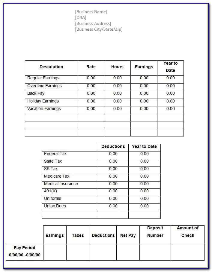 Payroll Check Stub Template Download