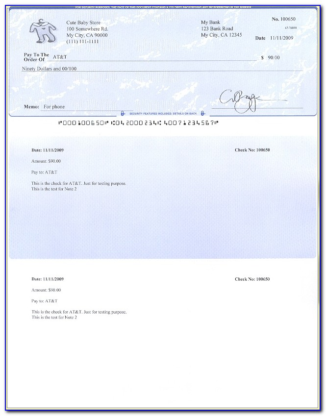 Payroll Check Template Word