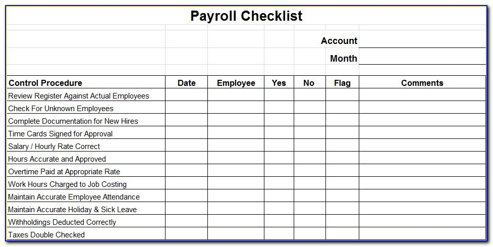 Payroll Checklist Template Excel