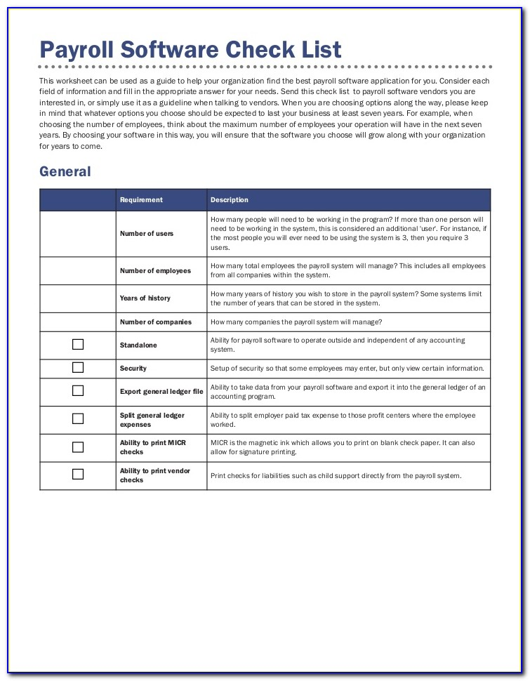 Payroll Processing Checklist Template